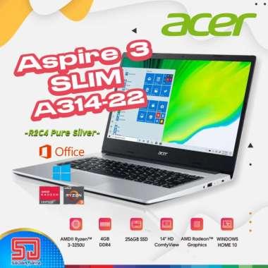 harga Acer Aspire 3 Slim A314-22-R2C4 Pure Silver [Ryzen 3-3250U, 4GB, 256GB SSD , 14″HD, Win10+OHS] Blibli.com