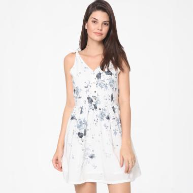 Heart and Feel 1387.D Tie Shoulder Printed Dress Wanita - White