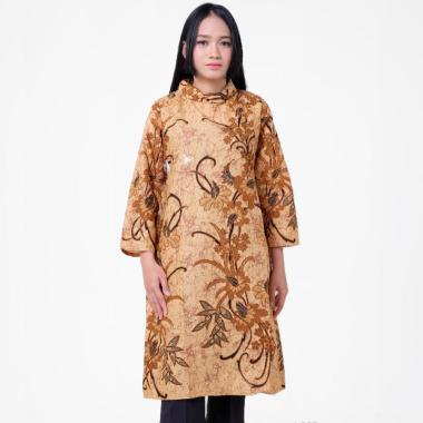 Batik Distro Ba9379 Bledak Panjang Blus Wanita Coklat