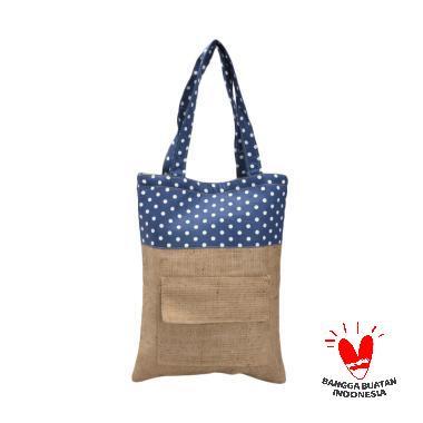 Rumah Karung Goni Polkadot Tote Bag Wanita - Blue