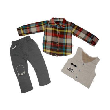 harga VERINA BABY 3in1 Kemeja Kotak-Kotak Colourfull Plus Vest and Pants Setelan Pakaian Anak Laki-laki 4 tahun Brown Blibli.com