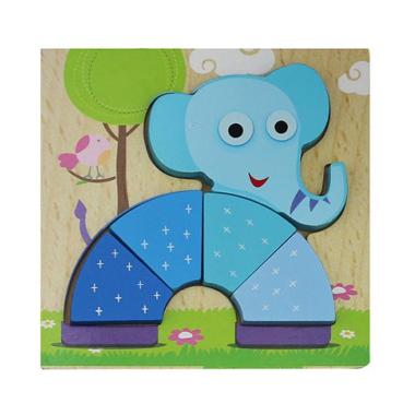 MOMO Gajah Kayu Mainan Puzzle Anak