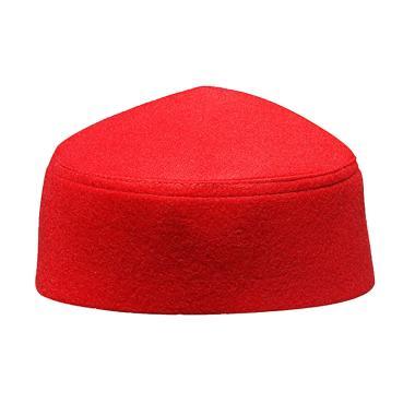 The Kufi Fez Style Songkok Peci Muslim Pria - Merah Polos [Jumbo]