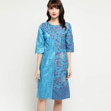 Parasika X4199 Katun Kombinasi Brokat Dress Batik Wanita