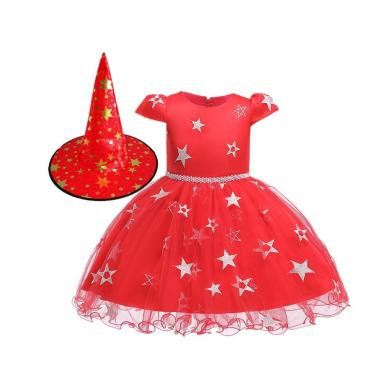 harga Bluelans Kid Girl Short Sleeve Star Print Mesh Tutu Dress Witch Hat Halloween Cosplay (1 Set) Blibli.com