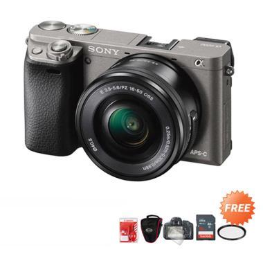 harga SONY Alpha A6000 Kit 16-50mm OSS Kamera Mirrorless + Free ScreenGuard + Cleaning Kit + Tas Kamera + Memori 16GB + Filter UV grey Blibli.com