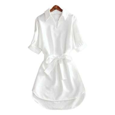 Bluelans Fashion Women Solid Color V Neck Half Sleeve Belt Office Long Shirt Mini Dress