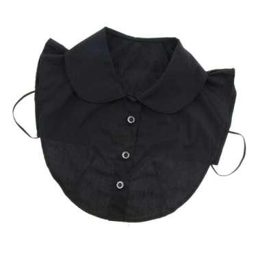 harga Women Ladies Cotton Fake Collar False Faux Doll Collar Detachable Half Shirt Black round collar Blibli.com