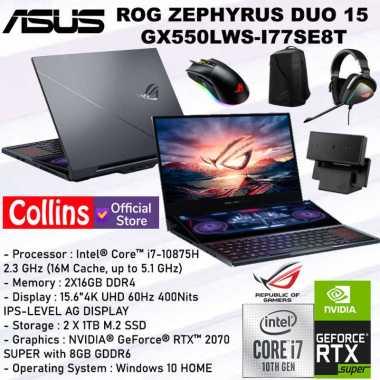 harga ASUS ROG ZEPHYRUS DUO 15 GX550LWS i7-10875H 32GB 2TB RTX2070 SUPER 8GB BLACK Blibli.com