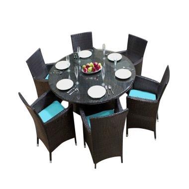 Prissilia Meja Taman 6 Seater Circle Table Sets