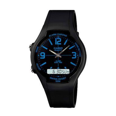 Casio AW-90H-2BVDF Silicon Jam Tang ... aransi Resmi - Black Blue