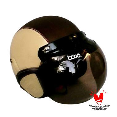 JBX Helmet Retro Klasik Kulit with Kaca Bogo - Krem Coklat