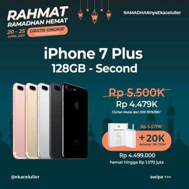 harga RAMADHAN HEMAT IPHONE 7 PLUS 128GB SECOND + ADAPTOR 5W NEW OEM JETTBLACK Blibli.com