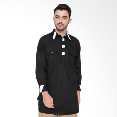 Zayidan Baju Gamis Yaman Baju Muslim Koko Pria - Hitam