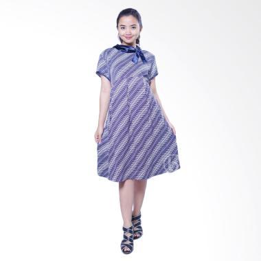 Mama Hamil BTK 150 Batik Pesta Silk Shanti Dress Ibu Hamil - Biru