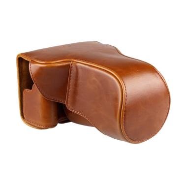 Canon Leather Bag for Canon EOS M3  ... or 18-55 mm - Coklat Muda