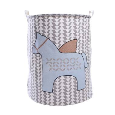 Homestuff Kuda Linen Laundry Bag Keranjang - Abu Biru