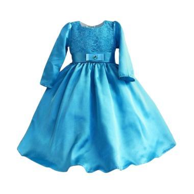 VERINA BABY Variasi Brukat Long Dress Anak - Biru
