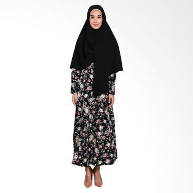 Erin Collection Motif Bunga Kerudung Lengan Panjang Set Gamis - Pink