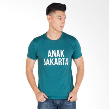 Trending Graphic Print Anak Jakarta T-Shirt Pria - Hijau