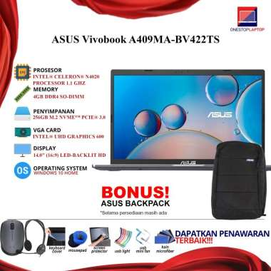 Laptop Asus Vivobook A409MA BV422TS Intel N4020 4GB 256ssd 14