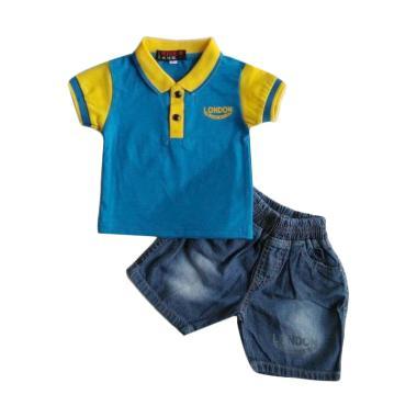 GLOWFish SWB221 Jeans Kaos Polo Set ...  - Biru [Usia 0-12 Bulan]