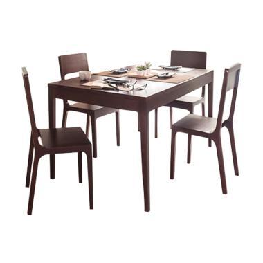 EQUI Furniture Zen Set Meja Makan [4 Kursi]