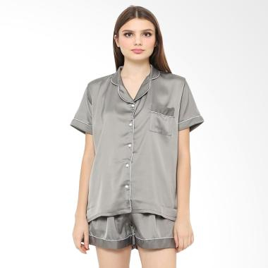 Madeleine Silk Short Setelan Baju Tidur - Grey