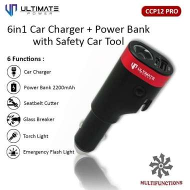 harga Ultimate Car Charger + Powerbank 6 in 1 with Safety Car Tool CCP12 Pro Blibli.com