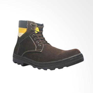 Cut Engineer Safety Iron Suede Leather Sepatu Boot Pria - Dark Brown