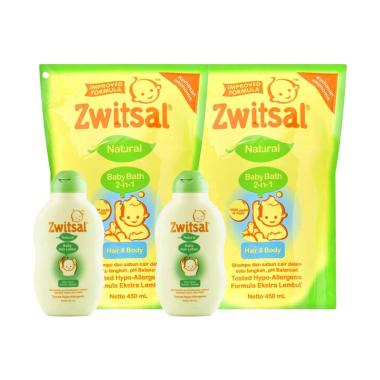 Zwitsal Baby Bath 2in1 Hair & Body  ...  Hair Lotion 50ml - 2 Pcs