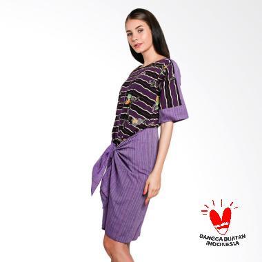 Lombang Batik by Yati Law Tenun Tali Ikat Dress - Ungu Tua