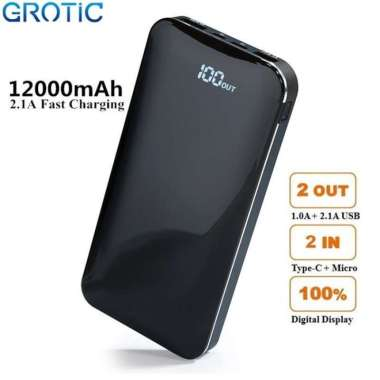GROTIC Powerbank 12000mAh 2.1A Fast Charge Dual USB LED Power Display Biru