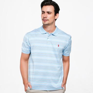 POLO RALPH LAUREN Classic Fit Stripe Polo Shirt Pria - Blue White [RX1600003]
