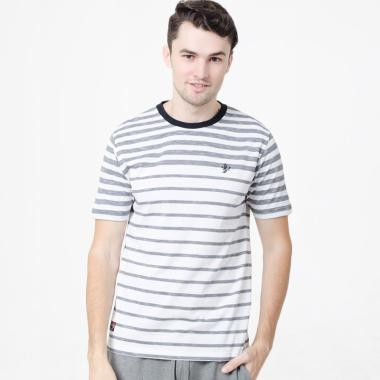 Osella Men Stripe T-Shirt Atasan Pria - White Grey