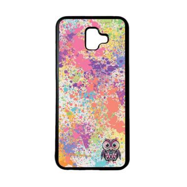 harga HEAVENCASE Motif Burung Owl Cute Paint Softcase Casing for Samsung J6 Plus - Hitam Blibli.com