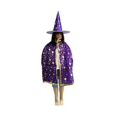harga Bluelans Halloween Adult Kids Star Print Cape Cloak Hat Set Makeup Costume Party Supply Short Blibli.com