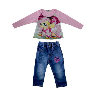 Lil Rose Pony Pink A Baju Setelan Anak - Pink