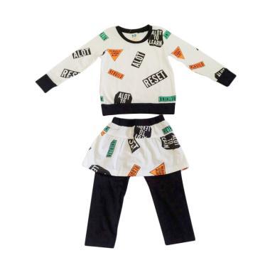 Premium Pastel PP Rebuilo Girl Stelan Baju Anak - White Black