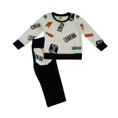Premium Pastel PP Rebuilo Boy Stelan Baju Anak - White Black