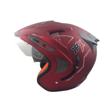 JPX Supreme Solid Helm Half Face - Red Scarlet Doff