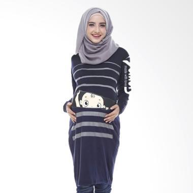 Momoty Baju Hamil Midi dress hamil BP1 - Navy