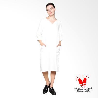 Simple Ladies Dress Linen Look - White
