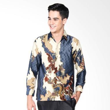 Batik Waskito Long Sleeve Silk Shirt Batik Pria - Grey