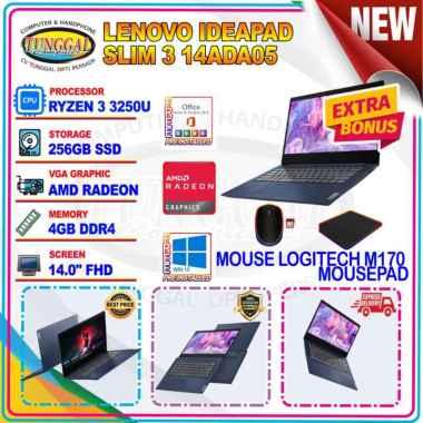 harga Laptop Lenovo IdeaPad Slim 3 14ADA05 Ryzen 3 3250U 4GB 256GB SSD 14