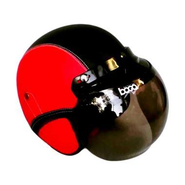 JBX Helmet Retro Klasik Kulit with Kaca Bogo - Merah Hitam