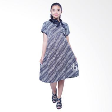 Mama Hamil BTK 150 Pesta Silk Shanti Baju Hamil Dress Batik - Hitam