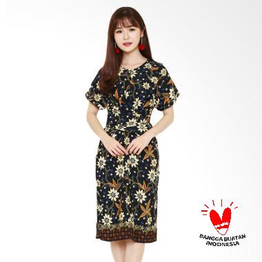 Batik Flike Store Dress Wanita Ribbon Tie Dress Black Alysa