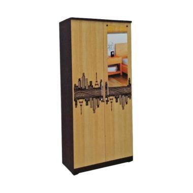 Creova Full Panel 2 Pintu Lemari Pakaian - Black Coklat
