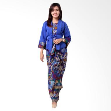 Batik Distro BA8870 Blouse Rok Setelan Wanita - Biru
